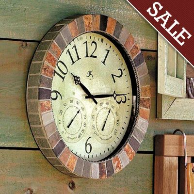 slate clock the frame is crafted of natural slate tiles rich in texture and warm earth tones this would be fun for the deck make it a