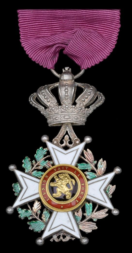 Order of Leopold (civil), Chevalier's breast badge, unilingual, awarded to Ship's Steward Constant van Hoydonck.