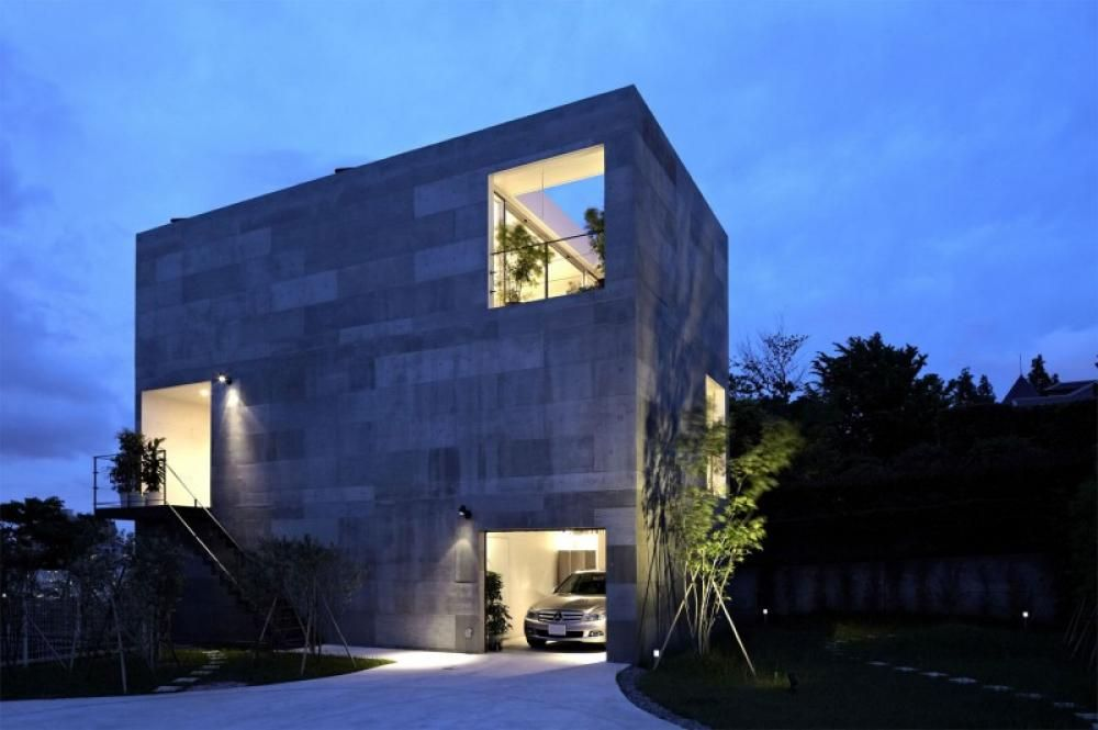 Concrete House Building Cube Shaped House With Modern Interior Lighting  Setting Peaceful Modern Family Home With Simple Exterior Design Home Design