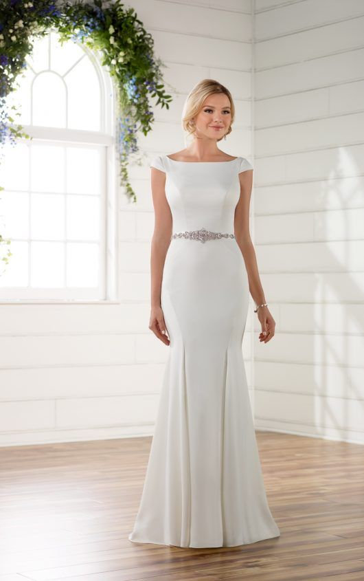 D2261 Boat Neck Wedding Dress With Cap Sleeves And Deep V Back By Essense Of Australia