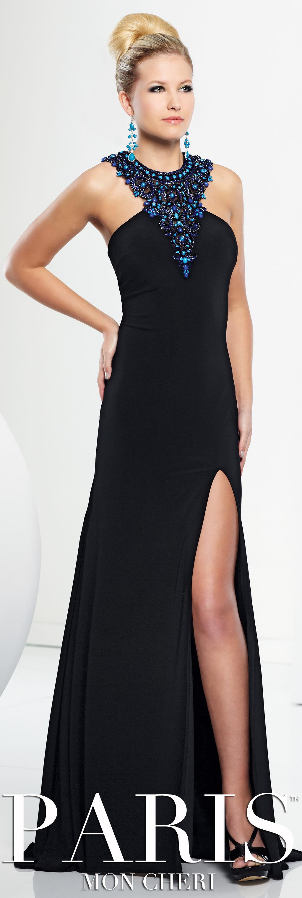 Parismon cheri style black jeweled prom dress