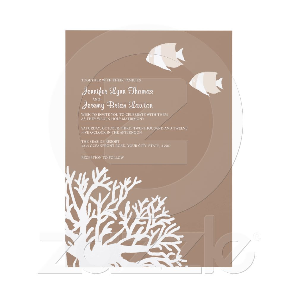 Like the idea of the coral on an invite, maybe fish as well, depending on the wedding location