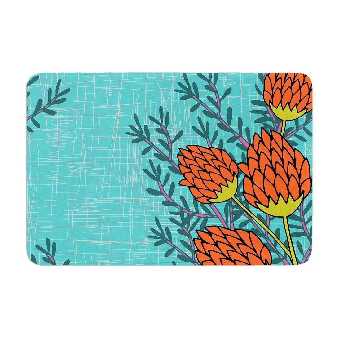 Nandita Singh Red Flowers Memory Foam Bath Mat Blue Kess