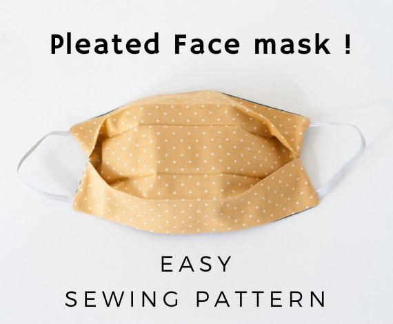 Face Mask Sewing Pattern Pdf Pleated Mask Washable Reusable Mask