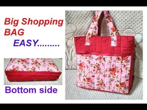aabc703bf111 handmade big shopping bag   lunch bag  cutting and stitching in hindi   Travel Bag shoulder bag - YouTube
