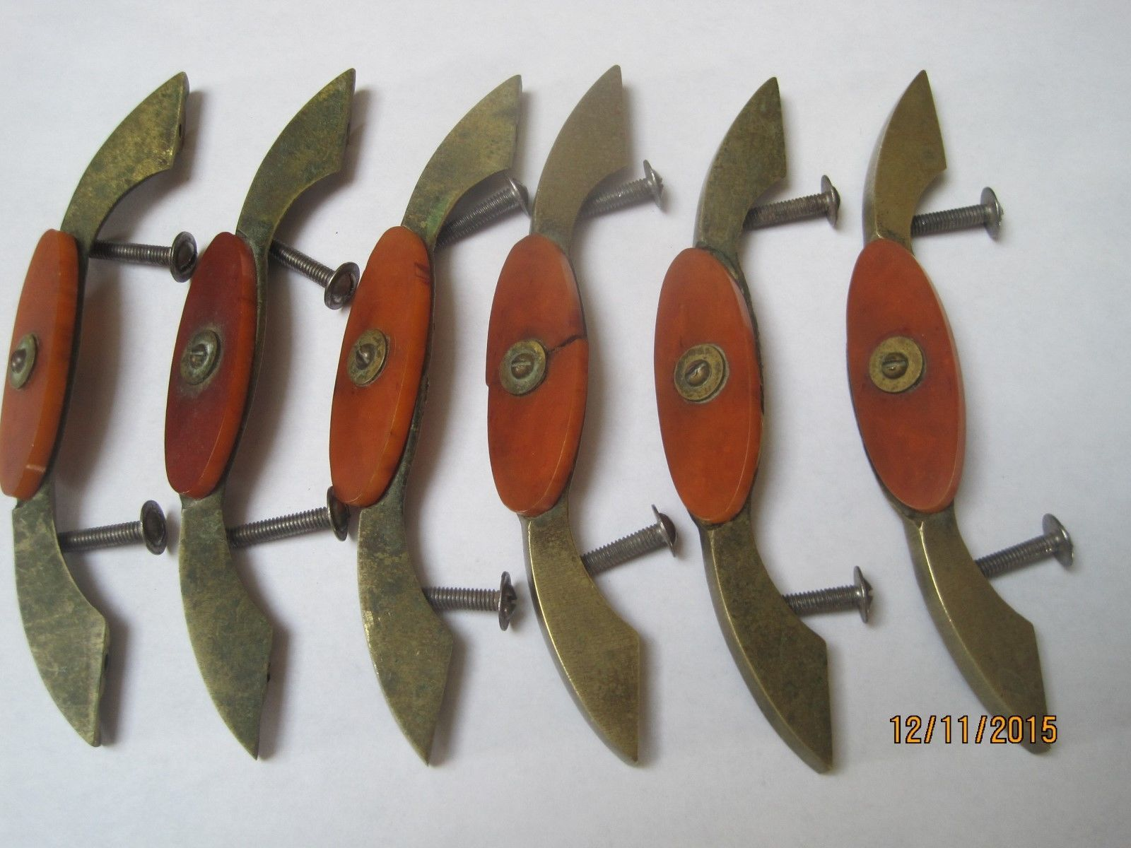Vintage Art Deco Six 6 Brass Bakelite Drawer Pulls From A