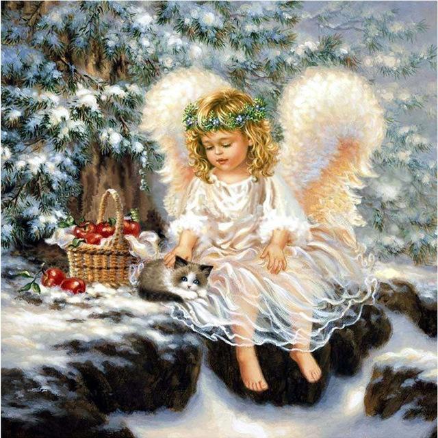 4.82$  Watch here - http://ai7xu.worlditems.win/redirect/32747652310 - diy diamond embroidery angels child 5d round crystal diamond cross stitch canvas painting mosaic handicraft   #aliexpress