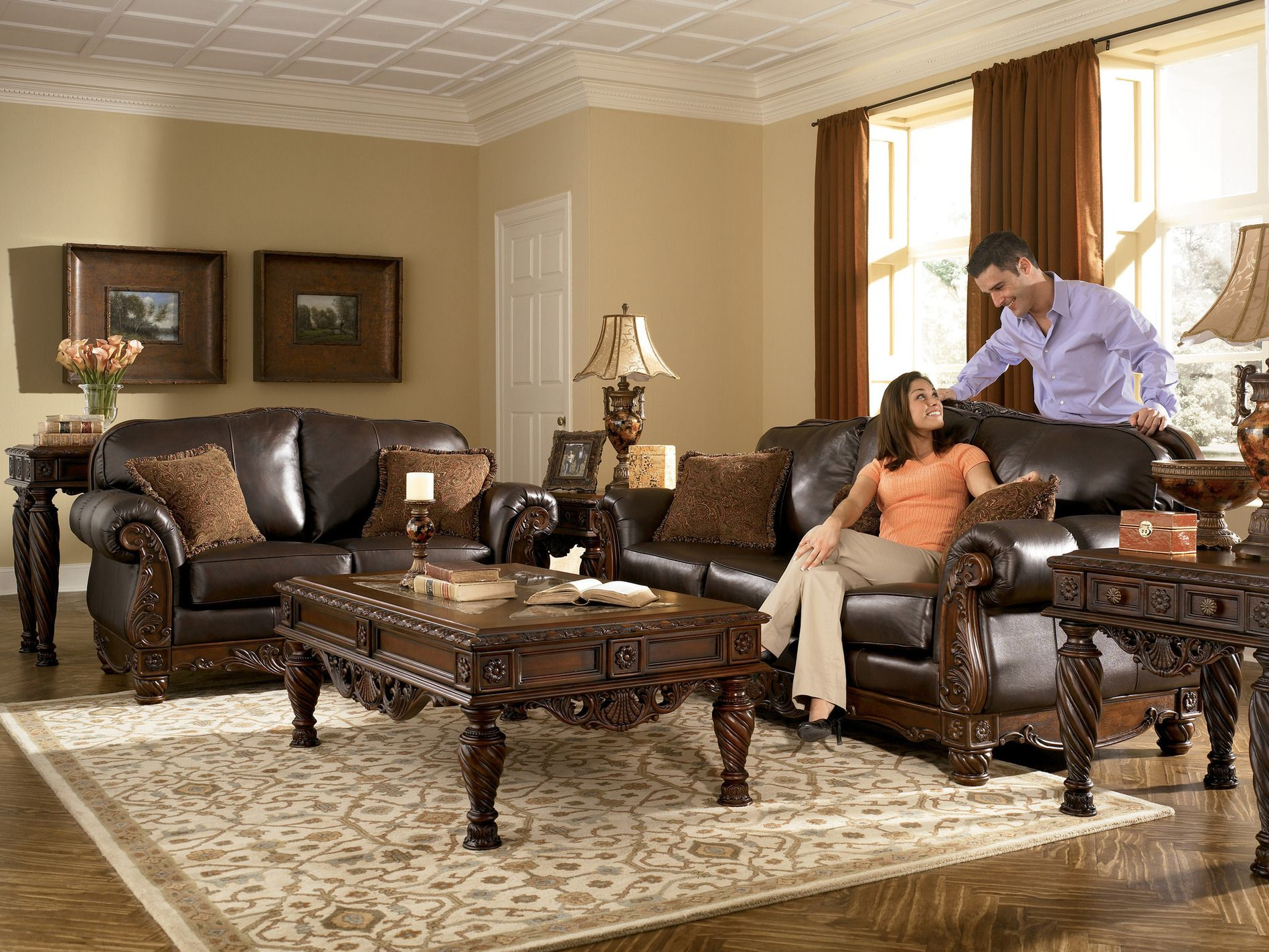 All Leather Brown Traditional Sofa Set Old
