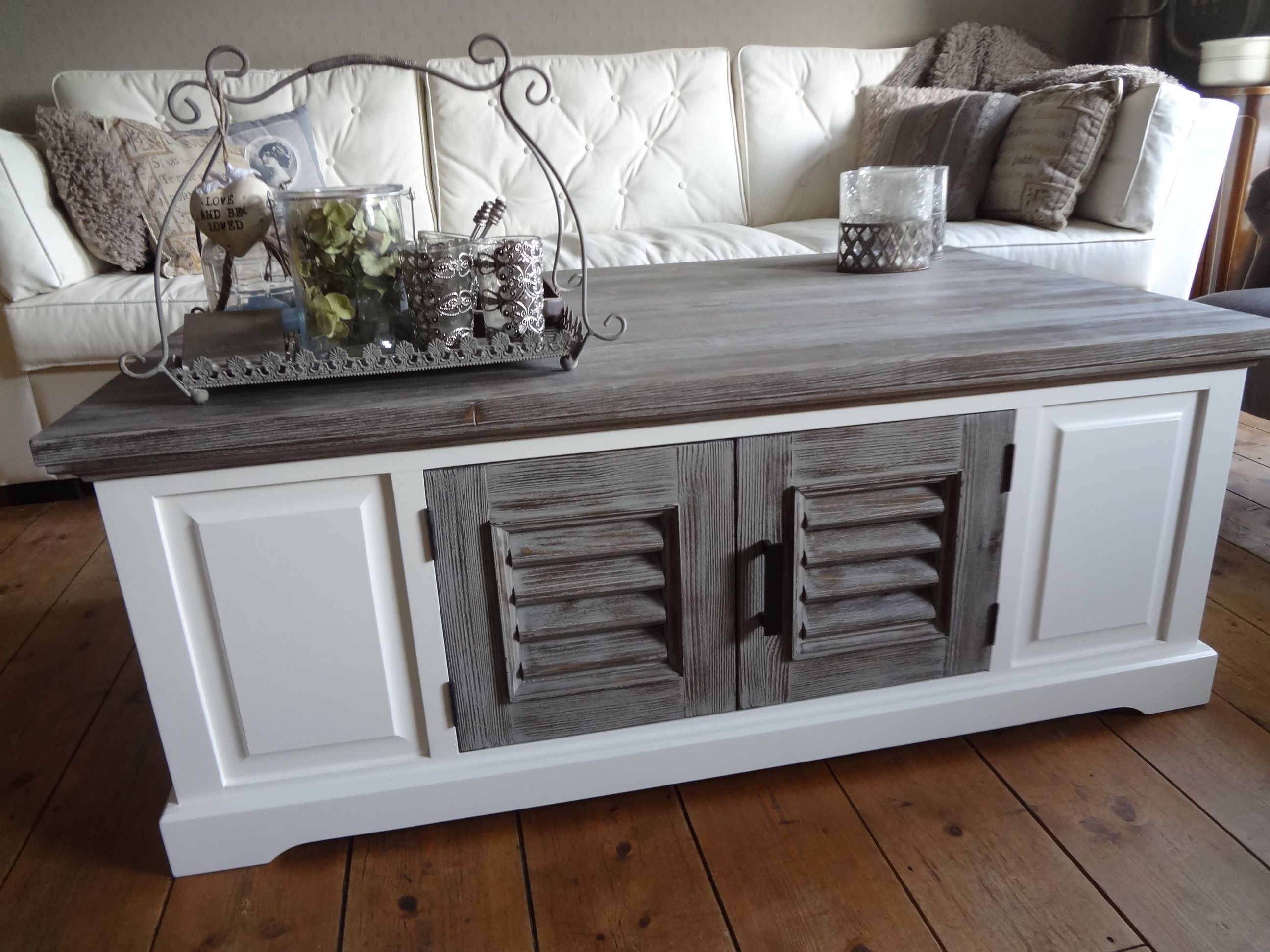 Driftwood Old Grey Louvre Cabinet & Tables
