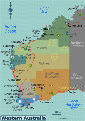 Western Australia Travel Guide Wikitravel Australia - Map of western australia with cities