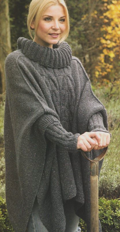 Womans Aran Cable Poncho Roll Neck & Inset Cuffs - One Size ...