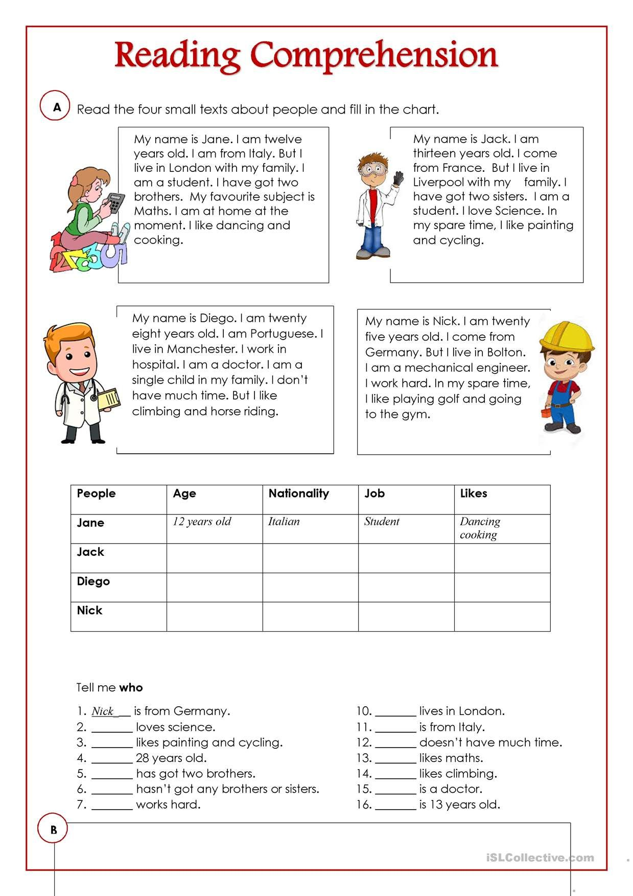 Oneclick print document Free reading comprehension