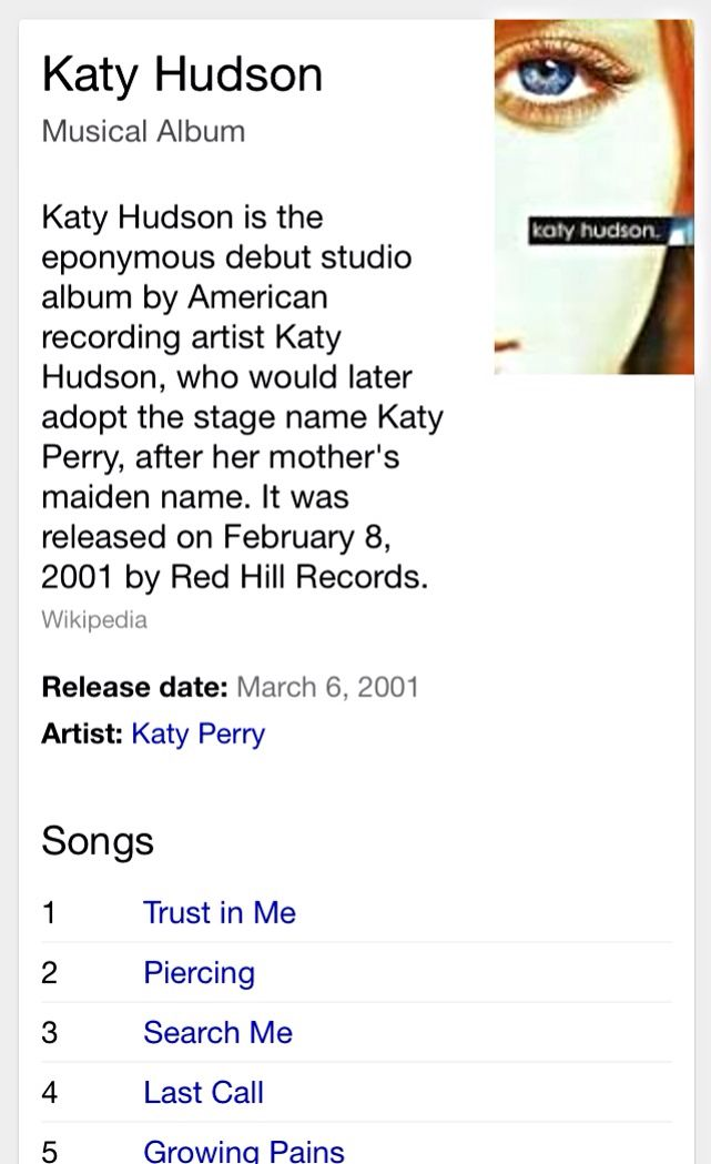 Katy Hudson (2001) | Katy Hudson (now Perry)