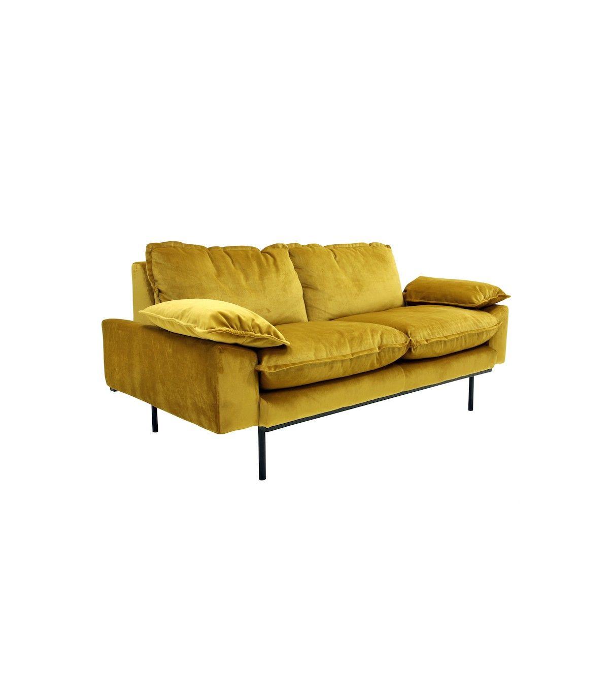 Canap r tro hk living en velours moutarde pied en m tal noir hk living ce canap chaleureux - Canape tres confortable ...