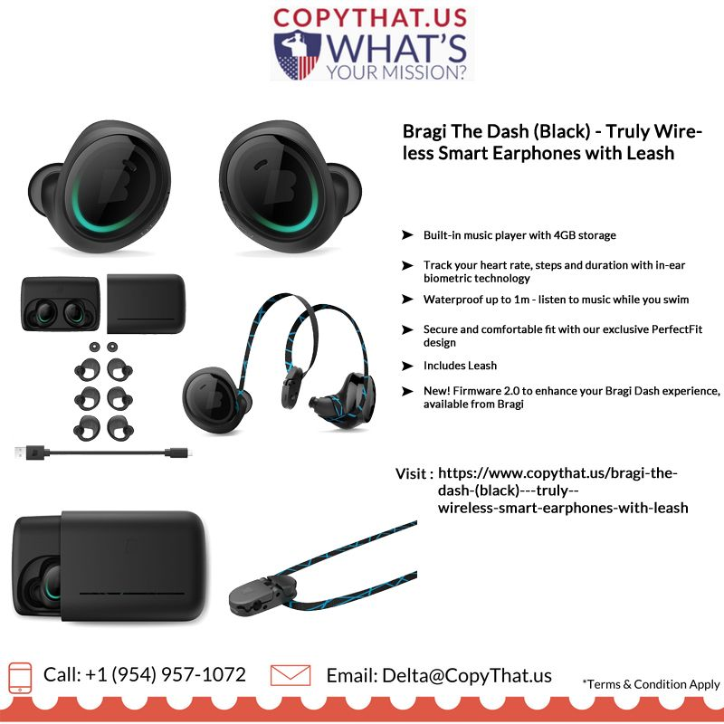 Copythat Us Offer Bragi The Dash Black Truly Wireless Smartearphones Features 1 Built In Music Pla Biometrics Technology Biometrics Listening To Music