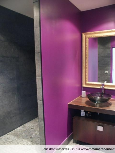 Photos d coration de salle de bain moderne design contemporain violet gris anthracite douche - Salle de bain design contemporain ...