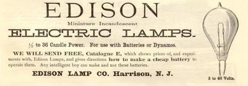Edison Electric Lamp advertisement from 1890  Thomas Edison