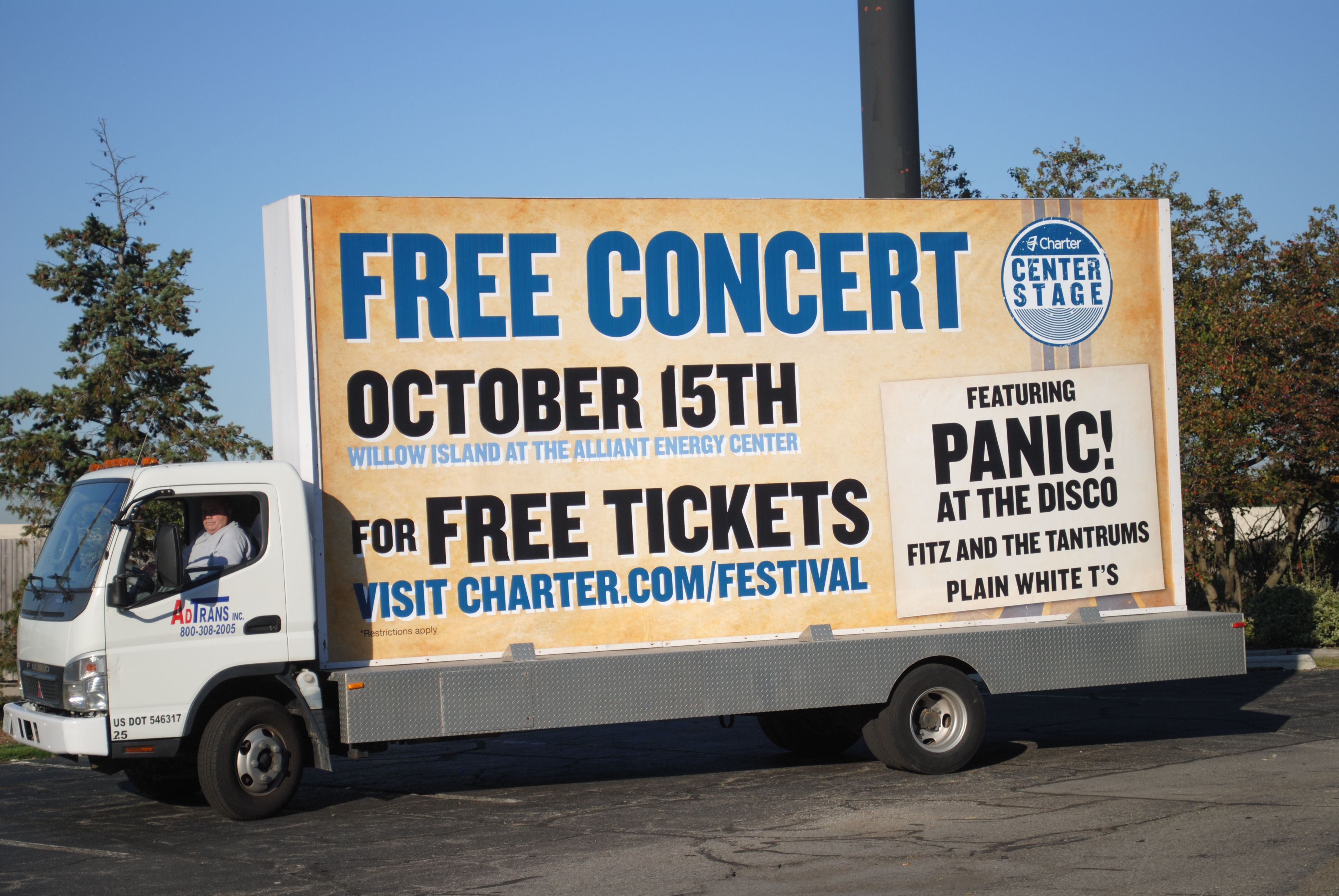 Advertising A Free Concert For Panic At The Disco With Mobile Billboard