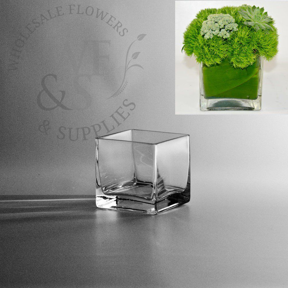 Square Glass Cube Vase 3x3 Wholesale flowers, supplies