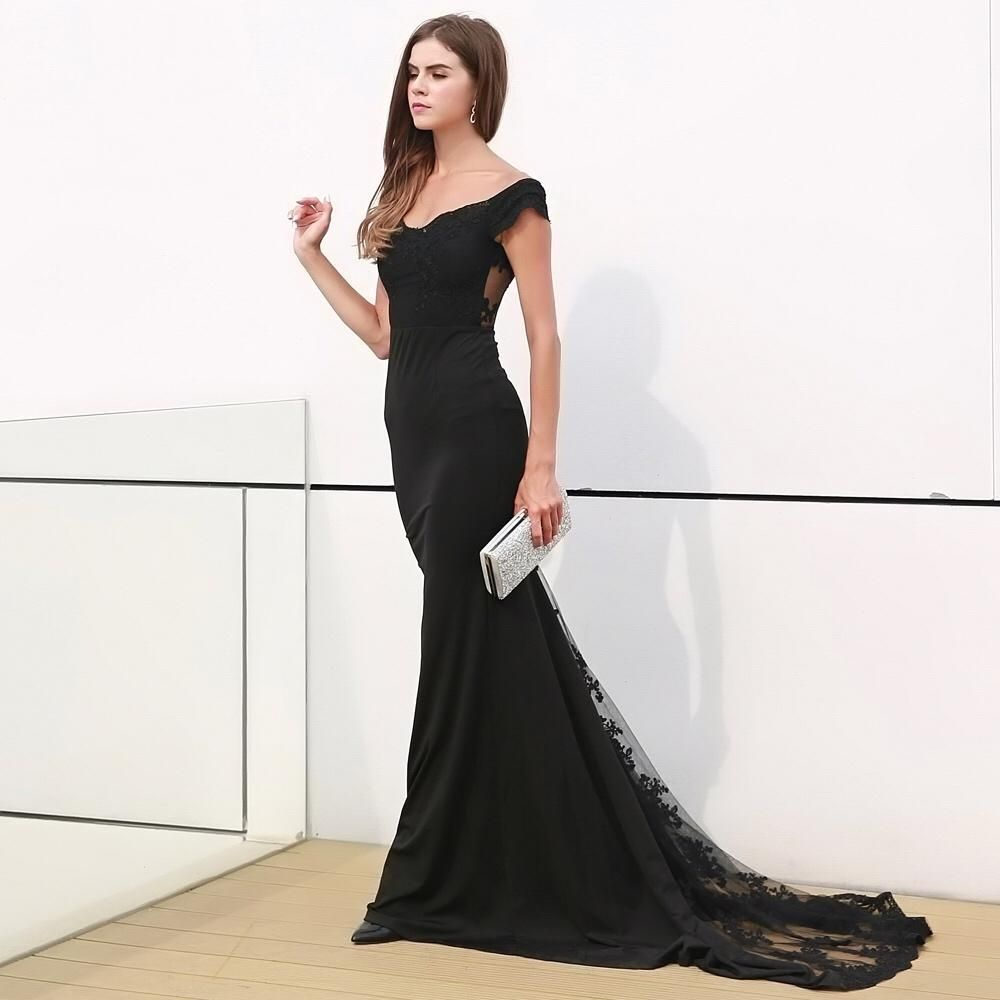 Rise To The Occasion Black Bardot Lace Maxi Dress Products