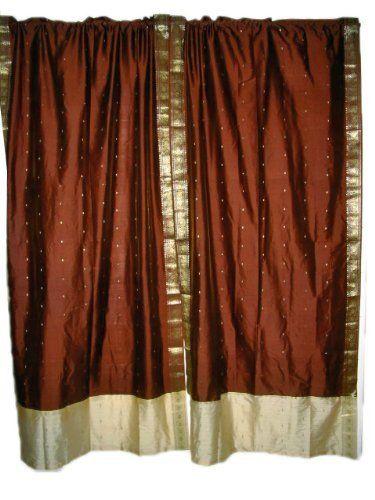 Indie Decor 2 Brown Art Silk India Sari Drapes Curtains Panels