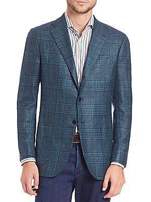 Kiton Cashmere-Blend Plaid Jacket - Green - Size