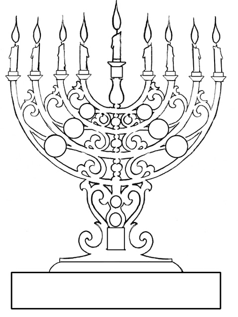Very Antique Candles While Hanukkah Coloring Pages ...