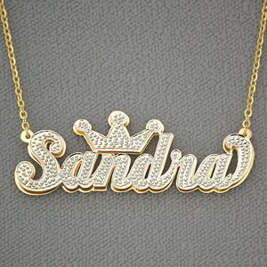Personalized Gold Name Crown Pendant 3d Double Plate Diamond Initial Necklace Gold Letter Necklace Jewelry