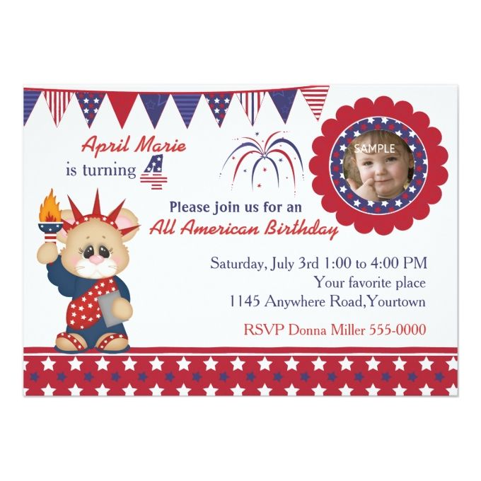 4th of july 4th birthday photo card birthday photos photo cards 4th of july 4th birthday photo 5x7 paper invitation card bookmarktalkfo Image collections
