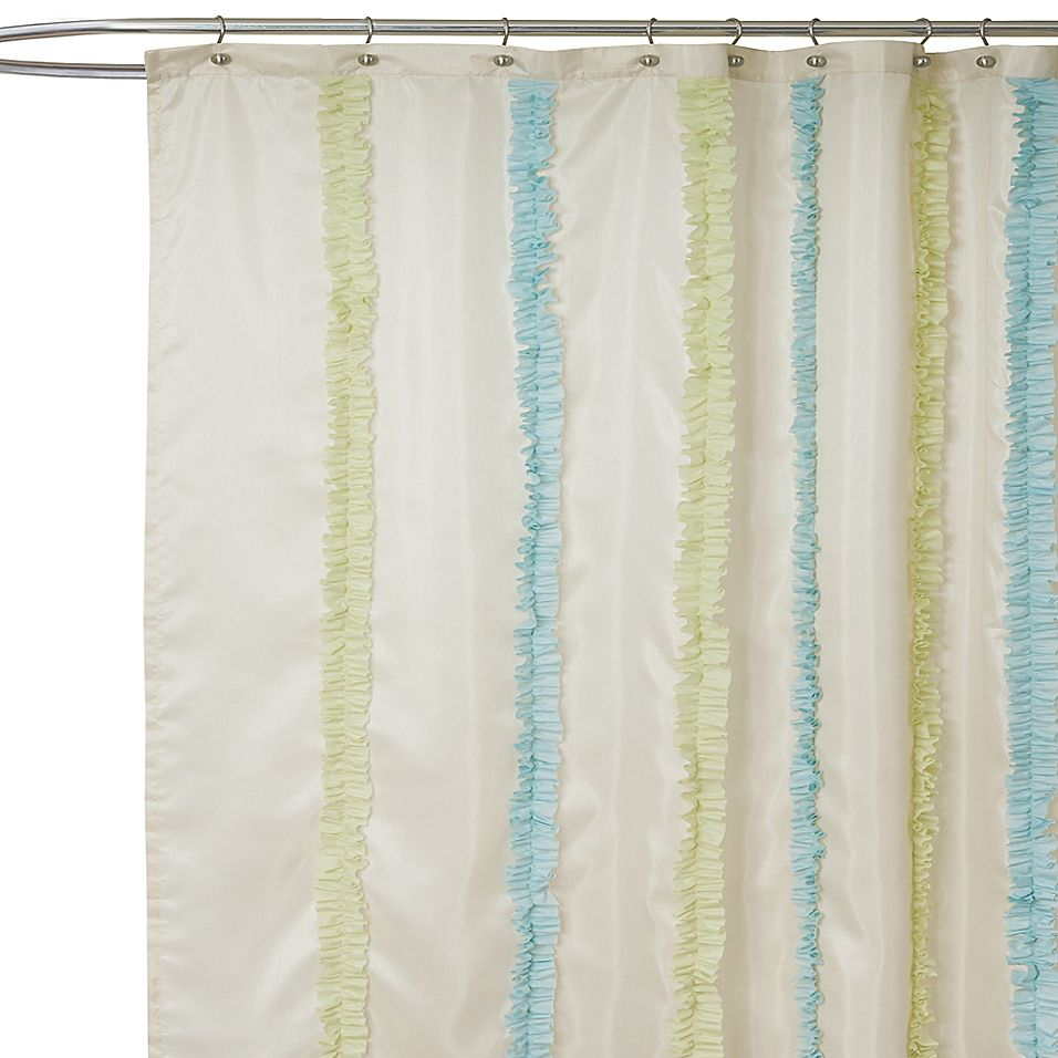 Aria Blue And Green Fabric Shower Curtain Green Bathroom Accessories Fabric Shower Curtains Ruffle Shower Curtains