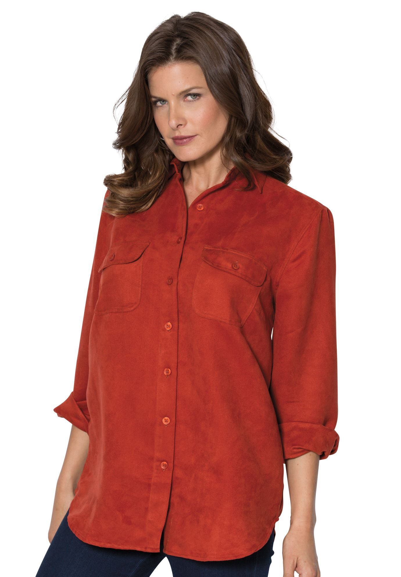 Red ochre aline silhouette suedelike fabric button front with
