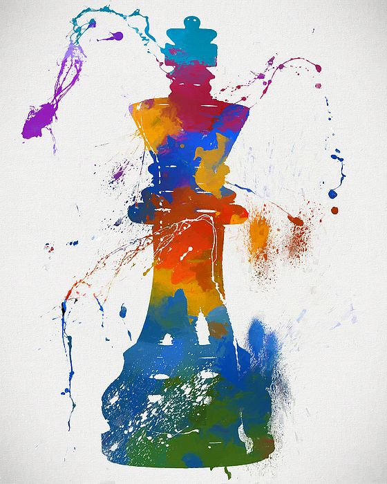 King Chess Piece Paint Splatter by Dan Sproul