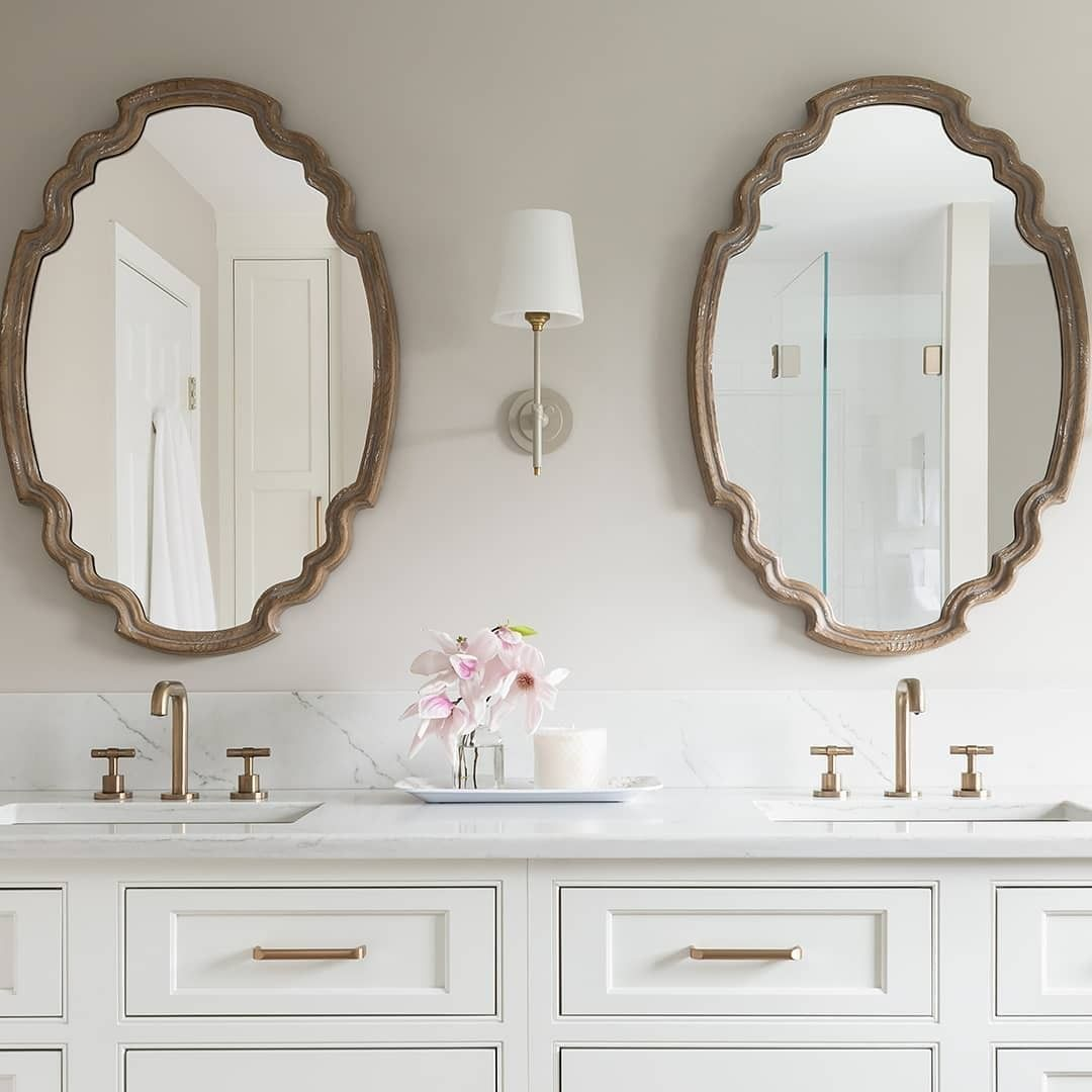 Scalloped Mirrors And Brilliance Luxe Gold Faucets From The Litze Bath Collection Offer Elegant Symmetry And Artisana Scalloped Mirror Vanity Mirror Home Decor [ 1080 x 1080 Pixel ]