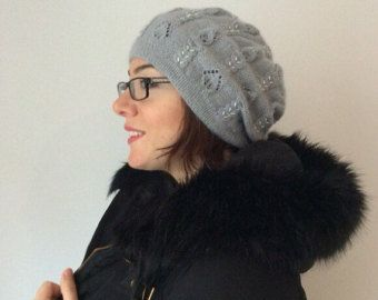 Mohair Gray Angora Hand Knitted Hat for Winter and grey Spring Autumn Fall, Grey Wool Yarn Christmas Gift, Xmas Present
