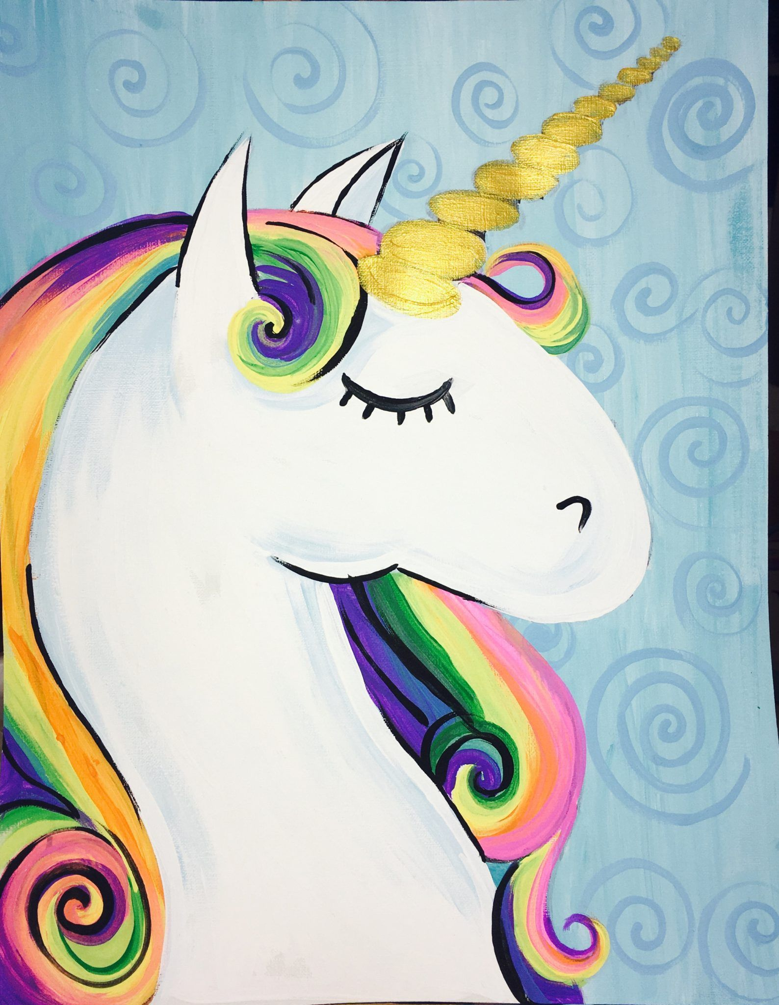 How To Paint A Rainbow Unicorn With Images Unicorn Painting
