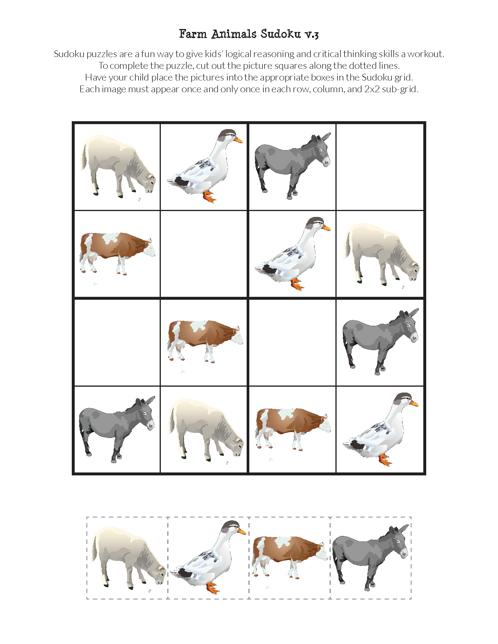 Farm Animals Sudoku Puzzles Free Printables