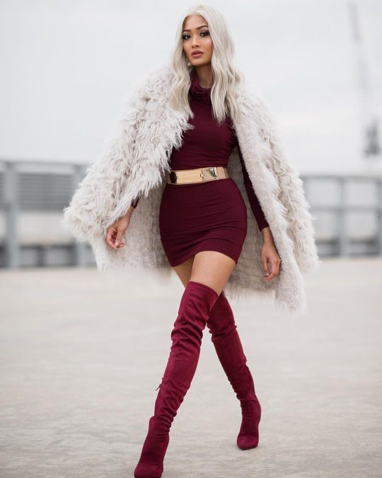 Women 39 s beige fur coat burgundy bodycon dress burgundy - Beige kombinieren ...