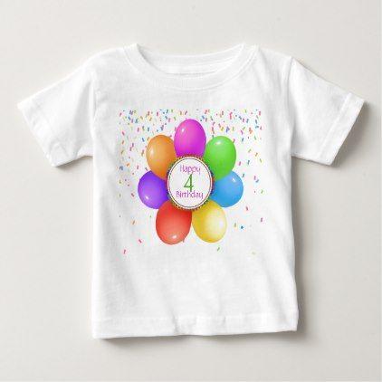 Rainbow Balloons Girls Birthday Tee Shirt