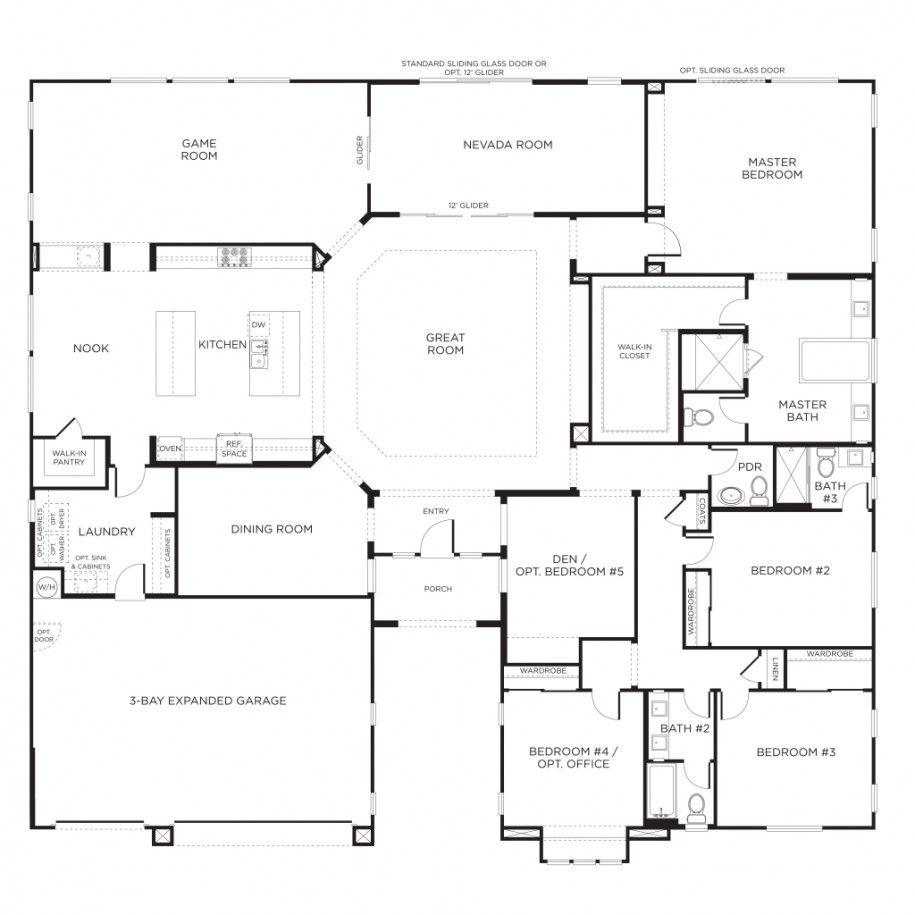 Nice home designs single story floor plans one story - Single story 4 bedroom modern house plans ...