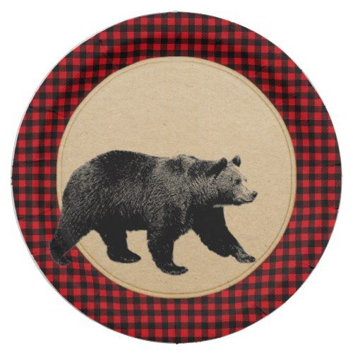 Buffalo Plaid Bear Rustic Cabin Paper Plate   Party Paper Plates ...