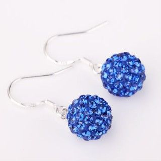Fancy Royal Blue Shamballa Disco Ball Bead Hook Earrings