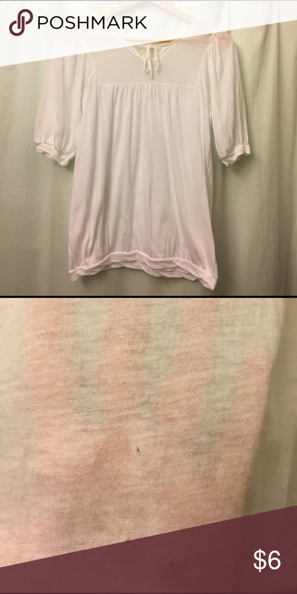 Anthropologie soft, sheer top This delicate beauty may have never been worn (I can't remember). Deletta for Anthropologie this is 💯 cotton and so soft and sheer. Sadly I noticed the tiny little pin holes (see photo 2) while listing it, the price will reflect this. IMO they will not be noticeable once the top is on. Anthropologie Tops Blouses