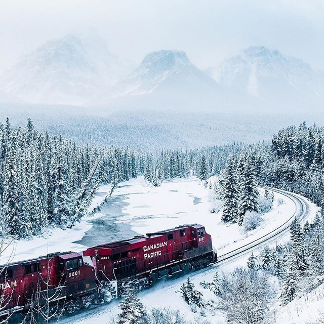 The Polar Express thunders towards Lake Louise captured by @kylekotajarvi. 🎅🏻🇨🇦 - Congratulations to @kylerrutz, the winner of a Canon 7D Mark II. More cameras, drones and trips giveaways yet to come. This is our way to say thank you for your continuous support, stay tuned! ❤️