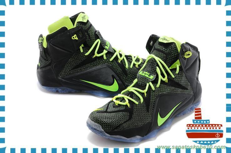 tenis barato de marca Nike Lebron 12 PS Elite Preto Verde 650884-003  Masculino-Mulheres 29796ec69