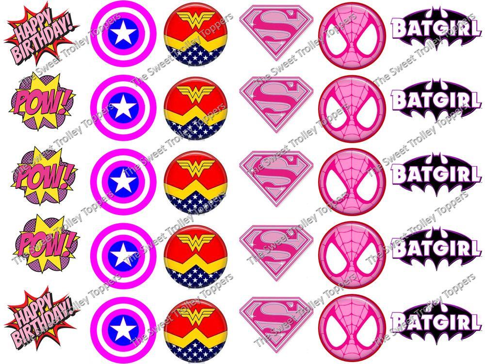 Details About Pink Girl Marvel Dc Superhero Logos Edible