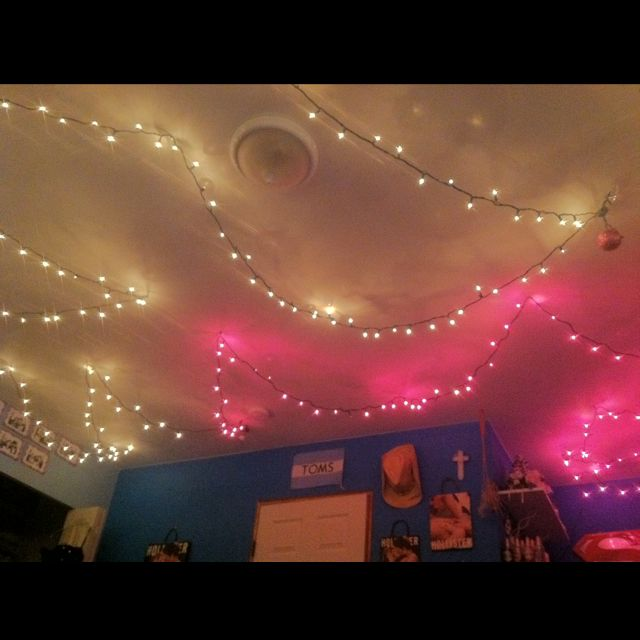 I strung Christmas lights on my ceiling for the lights I pinned