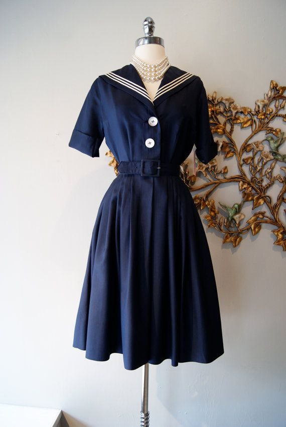 50s Dress // Vintage 1950s Navy Blue and White by xtabayvintage, $148.00