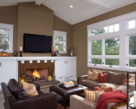 Living Room Brown Leather Sofa And Gray Walls Design ...