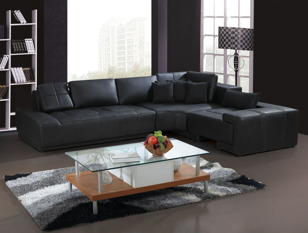 Wonderful Franco Collection Modern L Shaped Leather Sofa Couch Black Or White With  Pillows Nice Ideas