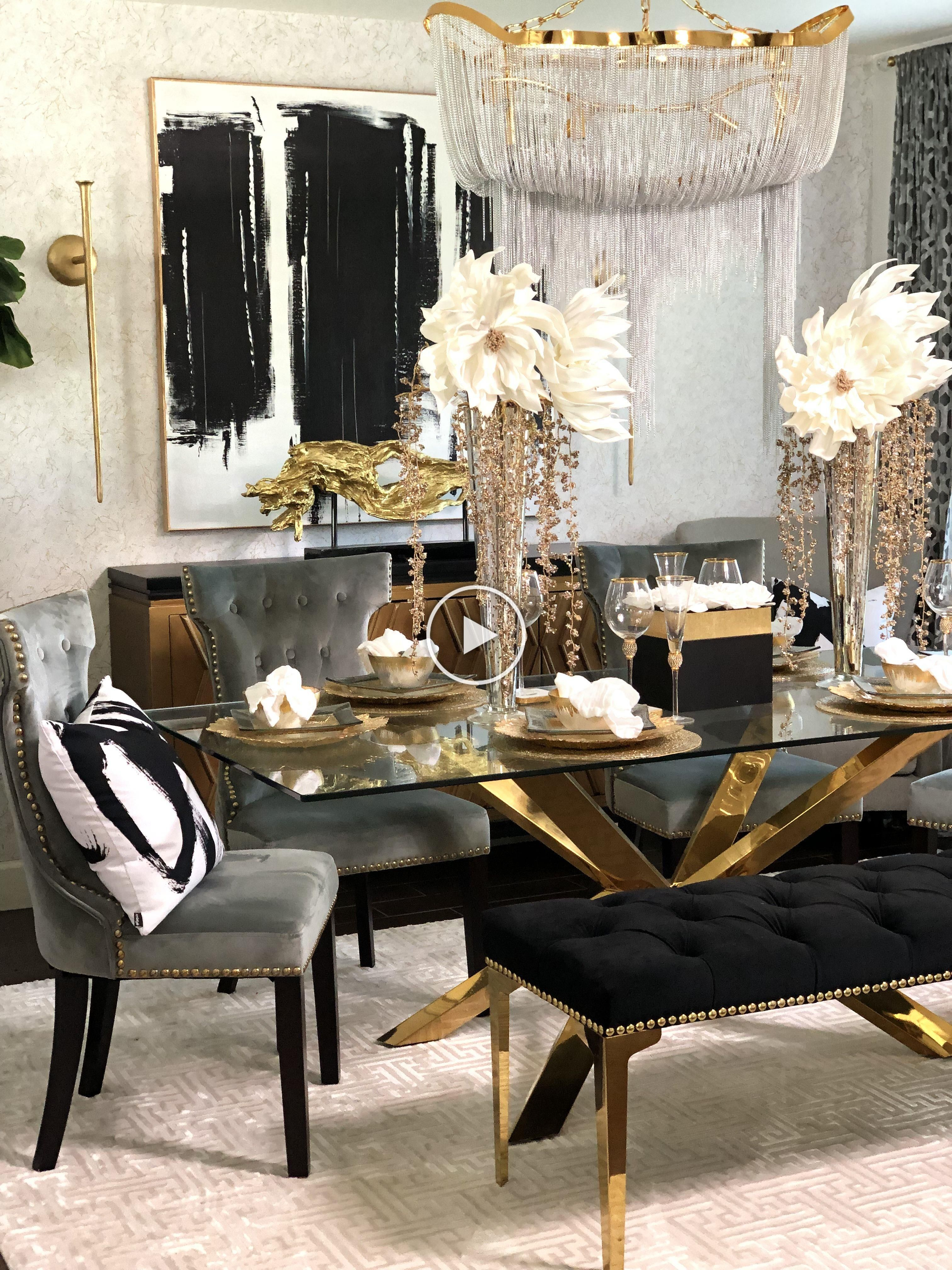 Pin By Rae Parker On Dine In Gold Dining Room Luxury Dining Room Dining Room Glam
